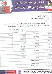 لیست نفرات اعزامی به مسابقات کشوری زوران-محمدیار