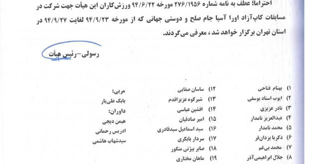 معرفی نفرات شرکت کننده در مسابقات آسیایی کیک جیتسوبه فدراسیون