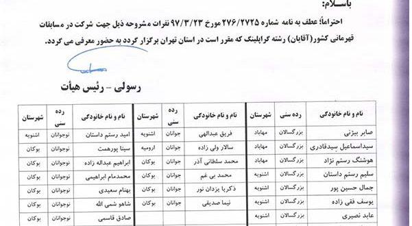 تیم گراپلینگ آقایان استان آذربایجان غربی